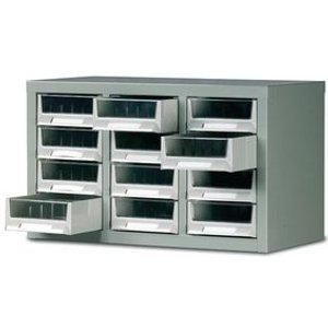 Steel Drawer Cabinet, 350x586x290mm C/w 12 Bin Trays Office Supplies