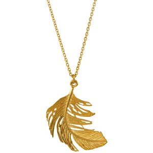 Alex Monroe Big Feather Necklace, Gold Plated Tfn1 Gp