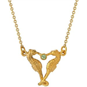 Alex Monroe Seahorse Companion Necklace, Gold Plated Ocn4 Gp