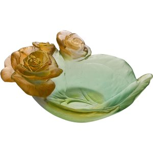 Daum Rose Passion Green & Orange Small Bowl 05289 2