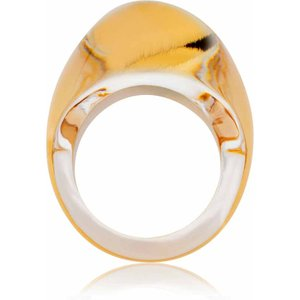 Lalique Cabochon Gold Luster Ring, Size 55 10288600