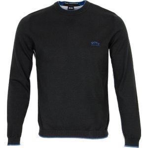 Boss Ziston Zip Neck Sweater Black Pf20 50440329 001, Black