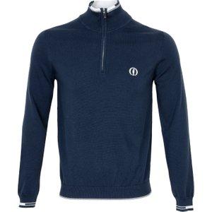 Boss Zyrod Open Championship Zip Neck Sweater Blue Pf20 50428698 410, Blue