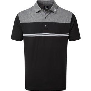 Footjoy Heather Colour Block Lisle Polo Shirt Black Ss21 90373, Black