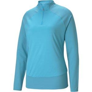 Puma Mesh 1/4 Zip Ladies Sweater Blue Ss21 595848 13, Blue