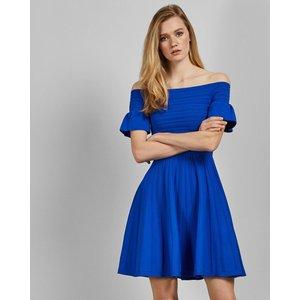 Ted Baker Bardot Frill Knitted Skater Dress Blue, Blue