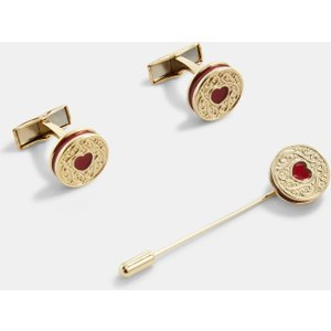 Ted Baker Biscuit Cufflinks And Lapel Pin Set Gold , Gold