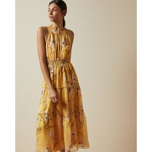 Ted Baker Cabana Halter Neck Midi Dress Yellow, Yellow