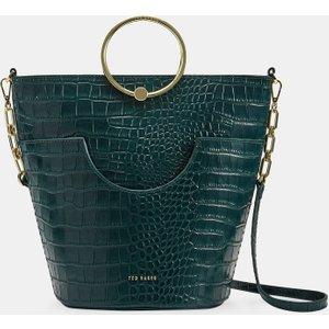 Ted Baker Circular Handle Bucket Bag Dark Green , Dark Green