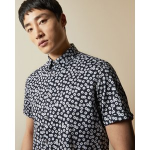 Ted Baker Cotton Floral Shirt Navy, Navy