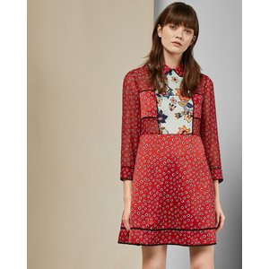 Ted Baker Floral Mini Dress Red, Red
