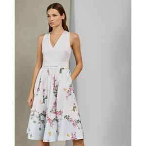 Ted Baker Full Skirted Cotton Dress White, White