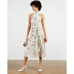 Ted Baker Halterneck Occasion Midi Dress Natural, Natural