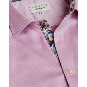 Ted Baker Herringbone Endurance Cotton Shirt Pink, Pink
