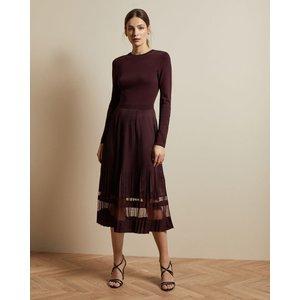 Ted Baker Knitted Long Sleeved Dress Oxblood, Oxblood