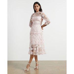 Ted Baker Lace Floral Midi Dress Light Pink, Light Pink