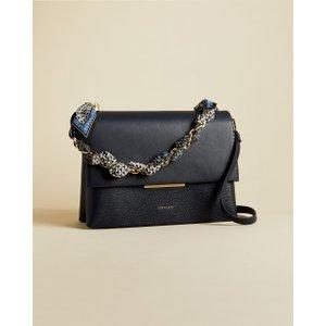 Ted Baker Leather Chain Bar Detail Shoulder Bag Navy , Navy