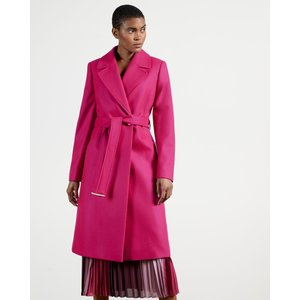 Ted Baker Long Collared Wool Coat Pink, Pink
