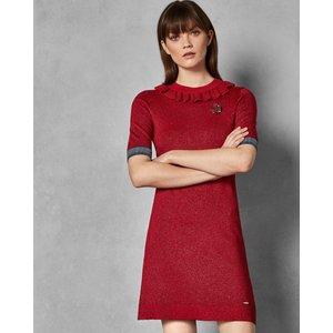 Ted Baker Lurex Knitted Dress Dark Red, Dark Red