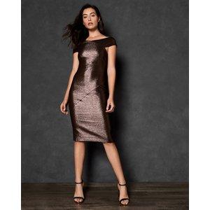 Ted Baker Midi Metallic Bodycon Dress Brown, Brown