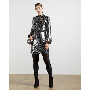 Ted Baker Sequin Mini Dress Silver, Silver