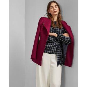 Ted Baker Short Belted Wool Wrap Coat Deep Pink , Deep Pink