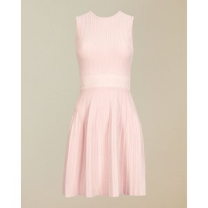 Ted Baker Sleeveless Knitted Skater Dress Baby Pink, Baby Pink