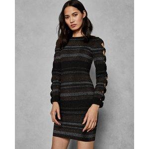 Ted Baker Stripe Bow Detail Dress Black, Black