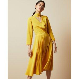 Ted Baker Tie Neck Midi Dress Yellow, Yellow