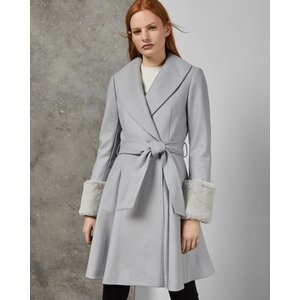 Ted Baker Wool Wrap Coat With Detachable Cuffs Light Grey, Light Grey