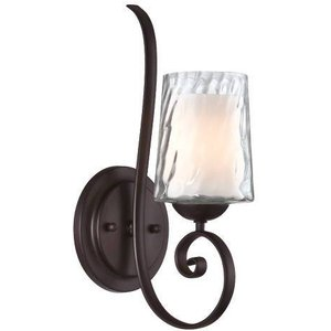 Elstead Lighting 1 Light Candle Wall Light Dark Cherry Glass, E14 Qz Adonis1