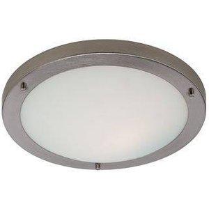 Firstlight Lighting 1 Light Flush Ceiling Light Brushed Steel, Opal Glass Ip54, E27 2740bs
