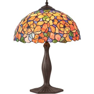 Interiors 1900 Lighting  (poole) 1 Light Medium Table Lamp Dark Bronze, Tiffany Glass, E27 64209