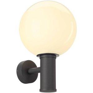 Slv Lighting 1 Light Outdoor Globe Wall Light, E27, Anthracite, Ip44 Slv1002002