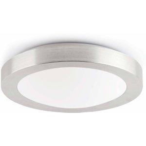 Faro Lighting 1 Light Small Round Bathroom Flush Ceiling Light Aluminium, White Ip44, E27 Faro62980