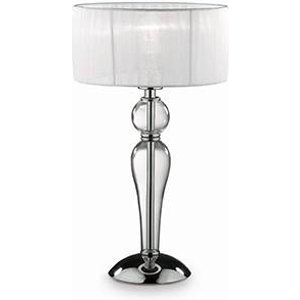 Ideal Lux Lighting 1 Light Small Table Lamp Chrome, White, Clear And Glass With Shade, E27 Idl051406
