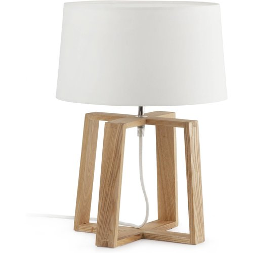 Faro Lighting 1 Light Table Lamp White, Wood With White Fabric Shade, E27 Faro28401