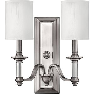 Elstead Lighting 2 Light Indoor Wall Light Brushed Nickel, E14 Hk Sussex2