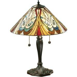 Interiors 1900 Lighting  (poole) 2 Light Medium Table Lamp Dark Bronze, Tiffany Glass, E27 64163