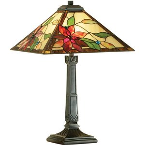Interiors 1900 Lighting  (poole) 2 Light Medium Table Lamp Dark Bronze, Tiffany Glass, E27 64230
