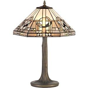 Luminosa Lighting 2 Light Tree Like Table Lamp E27 With 40cm Tiffany Shade, White, Grey, Black, Clear Crysta D Til1132