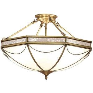Interiors 1900 Lighting  (poole) 8 Light Semi Flush Ceiling Light Antique Brass, Frosted Glass, E27 Sn01p63