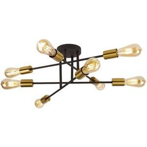 Searchlight Lighting 8 Light Semi Flush Ceiling Light Matt Black, Satin Brass, E27 8048 8bk