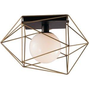 Fan Europe Lighting Globe Cage Semi Flush Ceiling Light, Black, Gold, E27 Fan I Abraxas Pl1 Oro