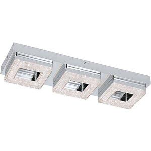 Eglo Lighting Integrated Led 3 Light Triple Square Flush Ceiling Light Chrome, Crystal Eg95656