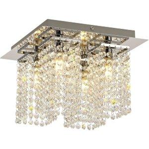 Luminosa Lighting Semi Flush Ceiling Light, 4 X G9, Ip44, Polished Chrome, Crystal D Ti8165