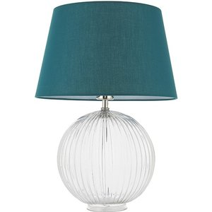 Endon Directory Lighting (poole) Table Lamp Clear Ribbed Glass & Green Cotton 1 Light Ip20 - E27 92885