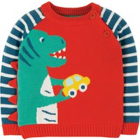 Frugi Koi Red Dino Wilfred Knitted Jumper 467219