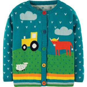 Frugi Tobermory Teal Tractor Cuddly Knitted Cardigan 492904