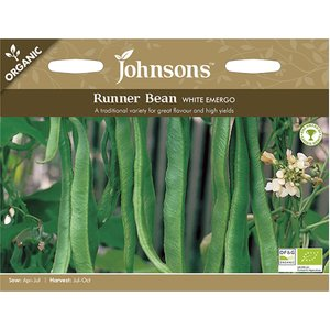 Johnsons Seeds Johnsons Organic Runner Bean Seeds - White Emergo 488647 Garden & Leisure
